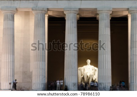 Lincoln Memorial in night, Washington DC USA - stock photo