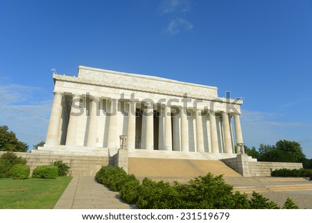 Lincoln Memorial in the morning in Washington DC, USA