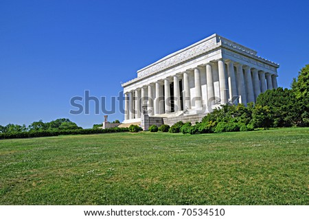 Lincoln Memorial in Washington D.C. on a bright summer day. - stock photo
