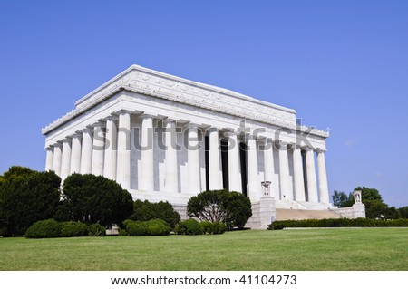 lincoln memorial in Washington DC against blue sky - stock photo