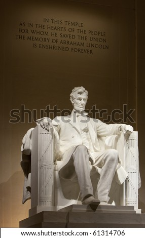 Lincoln Memorial in Washington DC. Close up of torso and head. Focus on face. - stock photo