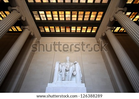 Lincoln Memorial Interior in Washington, DC - stock photo