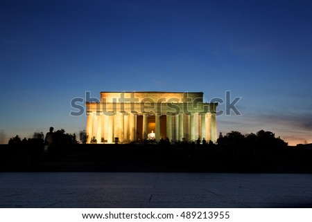 Lincoln Memorial Monument at Sunset, Washington DC