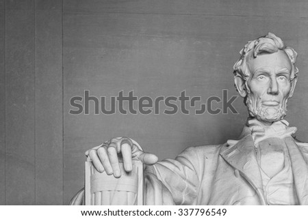 Lincoln Memorial off center Washington DC on the National Mall - stock photo