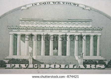 lincoln memorial on back of $5 bill - stock photo