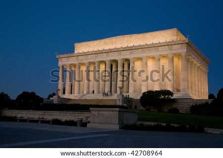 Lincoln Memorial - Outside at Sunrise - stock photo