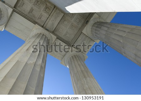 Lincoln Memorial Pillars in Washington DC - stock photo