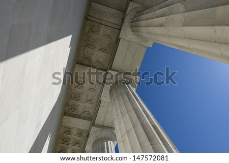 Lincoln Memorial Pillars in Washington DC - stock photo