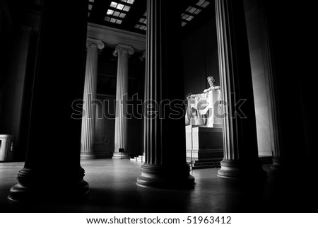 Lincoln memorial statue and columns - stock photo