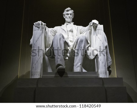 Lincoln Memorial statue at night, Washington, DC - stock photo