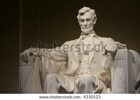 lincoln memorial statue 3/4 view - stock photo