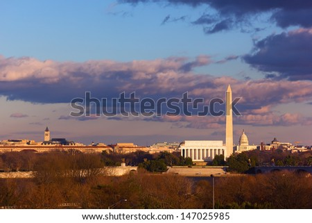 Lincoln Memorial, Washington Monument and US Capitol, Washington DC - stock photo