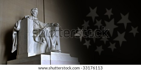 Lincoln Memorial with stars - stock photo