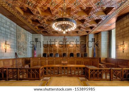 LINCOLN, NEBRASKA - AUGUST 18: An empty State Supreme Court Chamber of the Nebraska State Capitol building on August 18, 2013 in Lincoln, Nebraska - stock photo