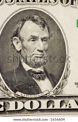 Lincoln on a $5 bill