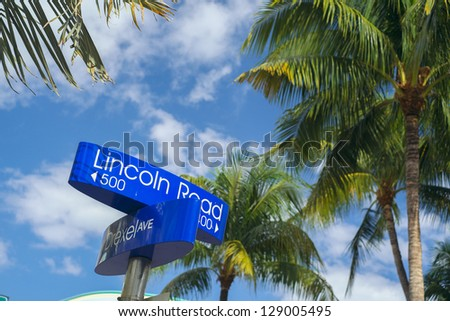 Lincoln Road and Drexel Avenue street signs located in Miami Beach. - stock photo