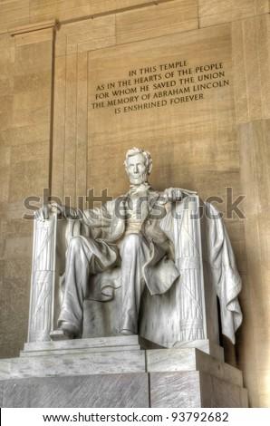 Lincoln statue inside Lincoln Memorial - stock photo