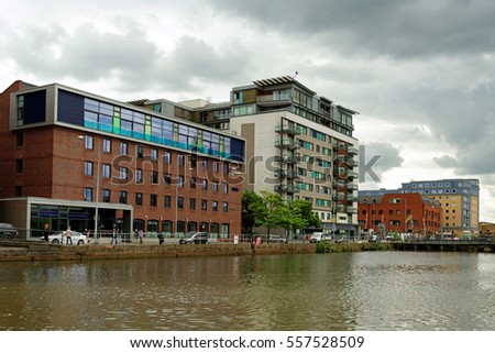 LINCOLN, UK - JULY 1, 2016: Brayford Wharf East and Witham Wharf at the Brayford Pool - a natural lake on the river Witham in the center of the city.