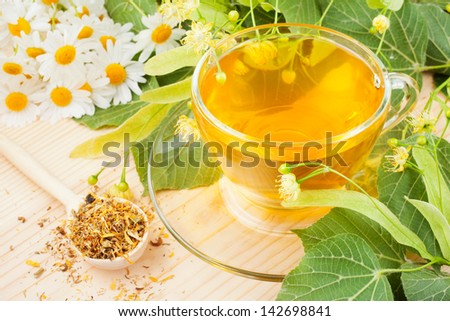 linden and chamomile flowers and cup of healthy tea, herbal medicine - stock photo