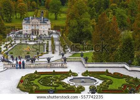 LINDERHOF, GERMANY-OCTOBER 2016: view on Linderhof palace in autumn
