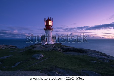 Lindesnes Lighthouse at sunset