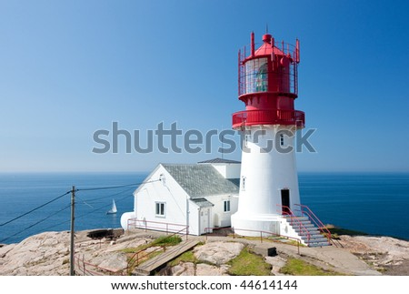 Lindesnes lighthouse in Norway, most southern destination of this European country - stock photo