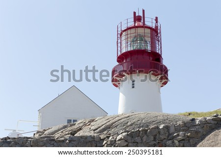Lindesnes lighthouse (South Cape, Vest-Agder, Norway) - stock photo