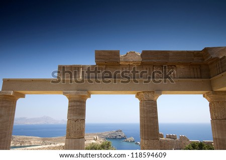 Lindos acropolis  located in Rhodes Island Greece - stock photo