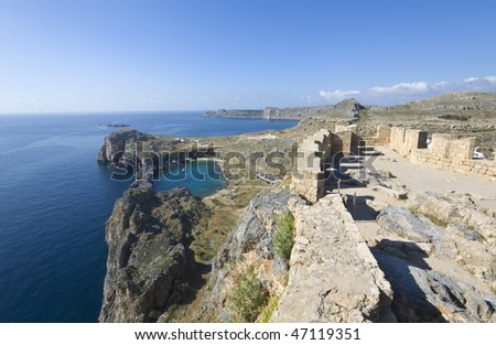 Lindos ancient acropolis area from Rhodes island, Greece