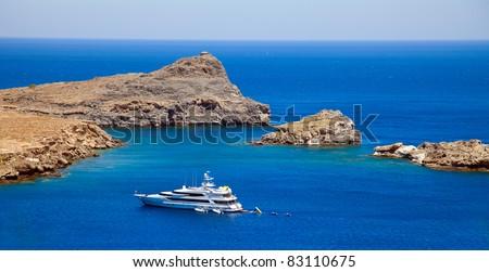 Lindos Bay.Rhodes island, Greece - stock photo