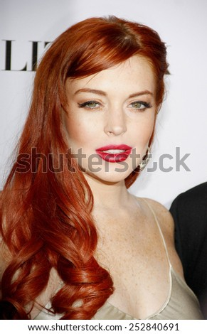 """Lindsay Lohan at the Los Angeles premiere of """"Liz & Dick"""" held at the Beverly Hills Hotel in Los Angeles, United States, 201112.   - stock photo"""