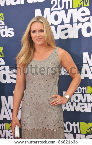 Lindsey Vonn at the 2011 MTV Movie Awards at the Gibson Amphitheatre, Universal Studios, Hollywood. June 5, 2011  Los Angeles, CA Picture: Paul Smith / Featureflash - stock photo