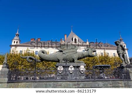 Lindworm Fountain - symbol of the city Klagenfurt in Austria - stock photo