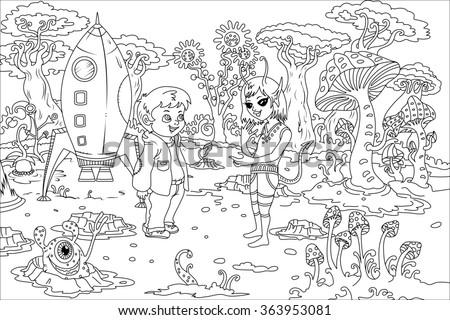 Line Art / Coloring Book Illustration for Children: The Boy and Alien Girl on Alien Planet. Realistic Fantastic Cartoon Style Artwork Scene, Wallpaper, Story Background, Card Design  - stock photo
