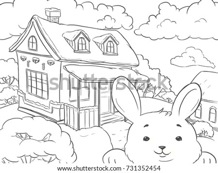 Coloring Page Landscape House Winter With Funny Rabbit