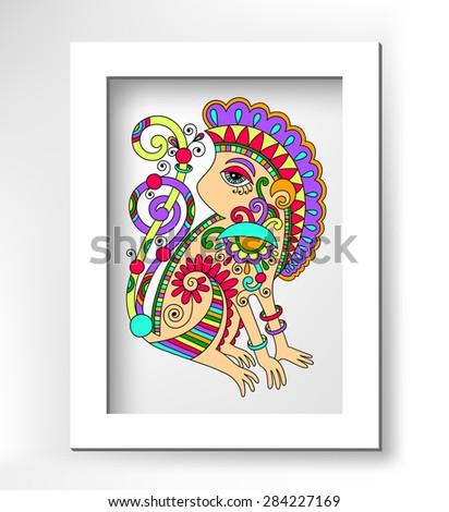 line art drawing of ethnic monkey in decorative ukrainian style, colored  raster version illustration with white minimalistic frame - stock photo