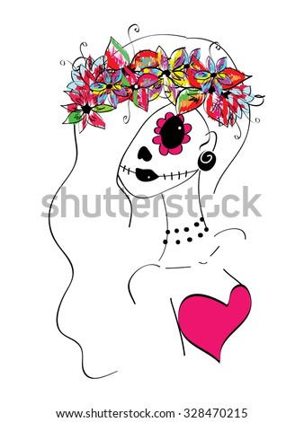 line art girl with creative makeup, sugar skull painted, Day of the Dead concept, Dia de los Muertos - stock photo