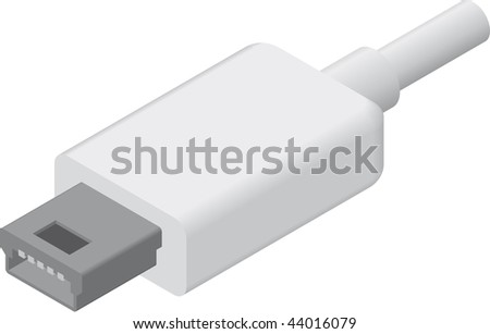 line art illustration of a Mini USB plug/cable in isometric view - stock photo