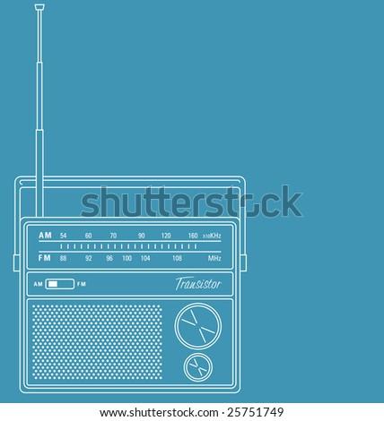 Line art illustration of a retro transistor radio. - stock photo