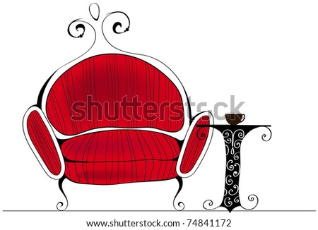 Line-art style illustration of cute and elegant retro armchair with table and coffee - stock photo