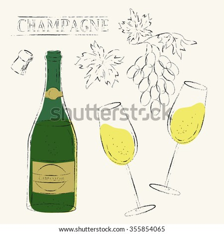 Line design elements. Flute wine glasses, cork and champagne wine bottle and wine grapes set. Grungy sketch illustration for wine list, party menu background, celebration and wedding design. - stock photo