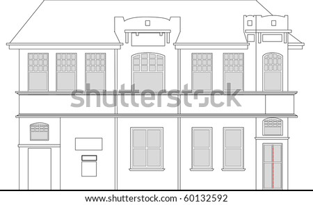 Line Drawing Illustration Of A Heritage Mansion Building Viewed From Front Elevation On White Background