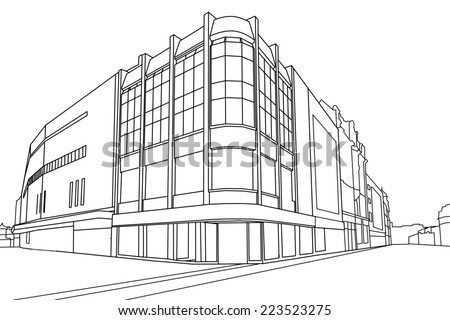 Line drawing  of a  retail store, Leeds, West Yorkshire, England, UK - stock photo
