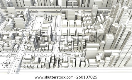 Line drawing of bird's-eye viewing city - stock photo