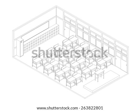Line drawing of classroom - stock photo