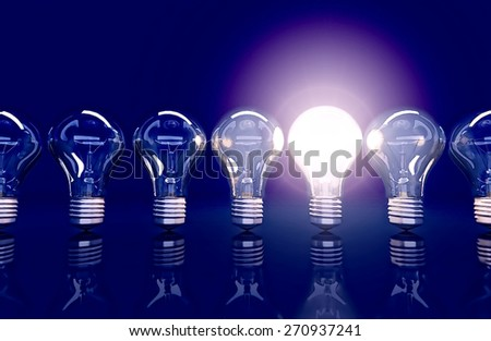 Line  from seven lamps, one lamp shines, 3D. - stock photo
