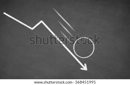 Line graph with an empty circle showing a downward trend. White chalk on blackboard - stock photo