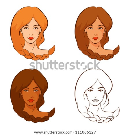 line illustrations of beautiful women with braided hair in different color variations - stock photo