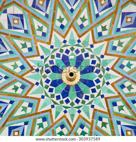 line in morocco africa old tile and colorated floor ceramic abstract - stock photo
