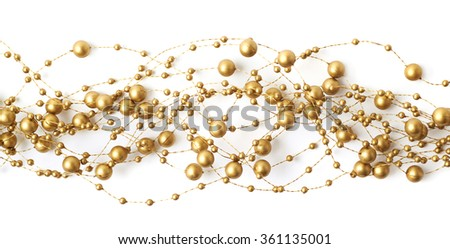 Line of beads garland thread isolated - stock photo